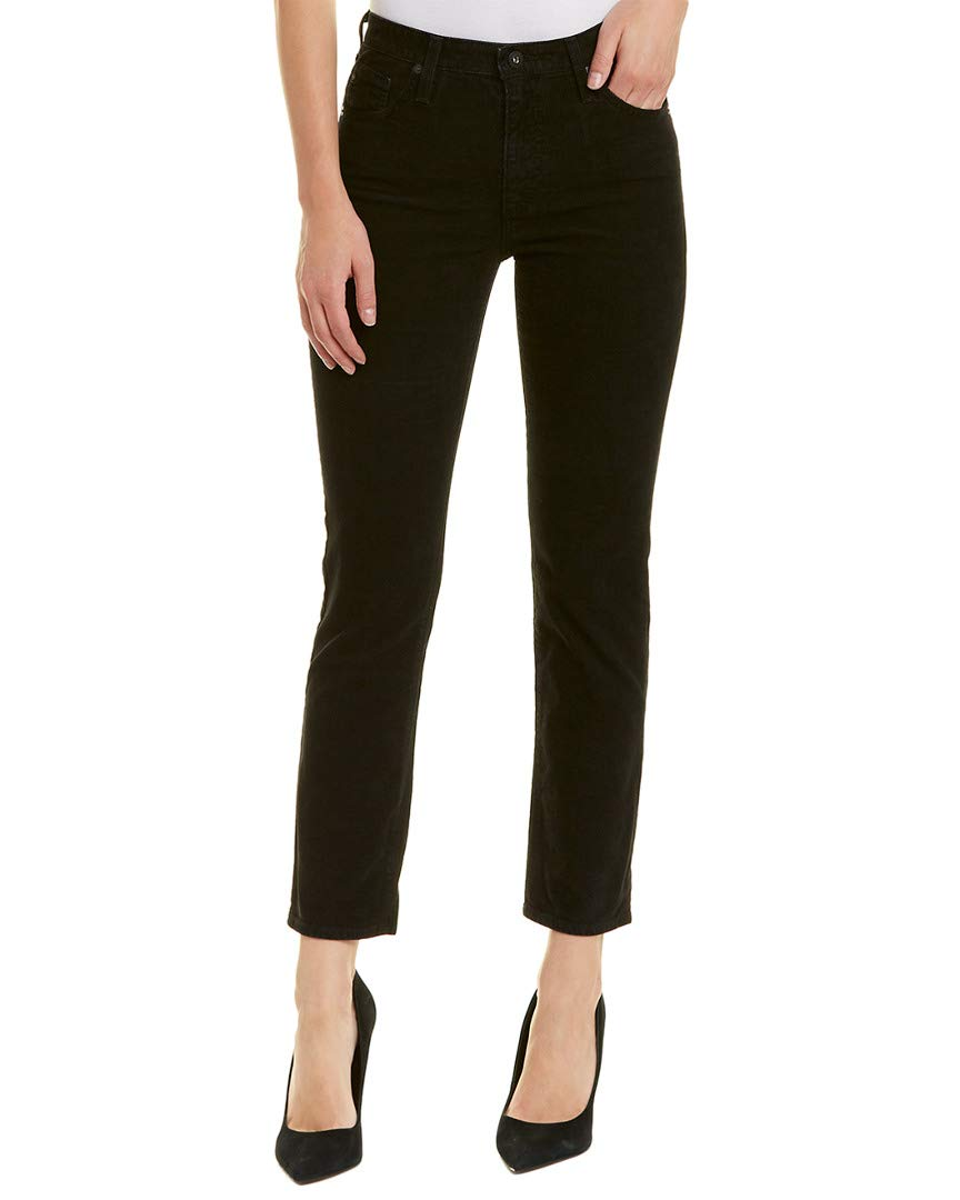 AG Adriano Goldschmied Women's The Isabelle High Rise Straight Jean, Immersed Black Corduroy, 27