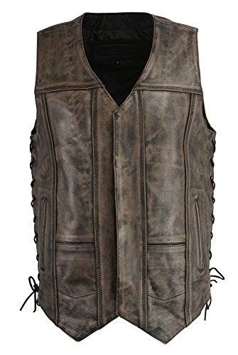 (M-BOSS APPAREL-Men's Distressed 10 Pocket Vest w/Exterior Gun Pocket-BLK/BEIGE-LG)