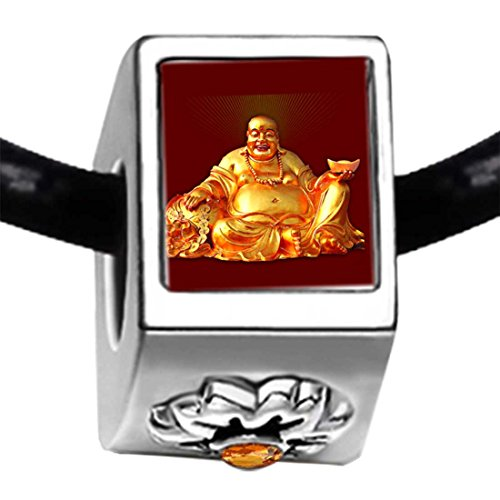Chicforest Silver Plated Religion Huge Buddha Figure Photo Topaz Crystal November Birthstone Flower Charm Beads Bracelets European Bracelets Compatible