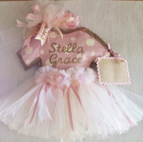 Baby Girl Hospital Door Hanger- Rose Gold Baby Girl Tutu Door Hanger-Baby Shower by Tallahatchie Designs
