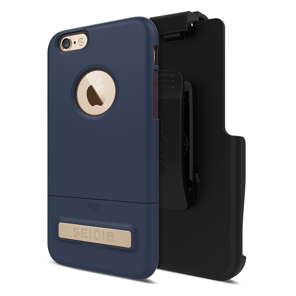 Seidio Surface with Metal Kickstand Case & Holster Combo for iPhone 6 Plus/6s Plus - Non-Retail Packaging - Midnight Blue/Chocolate Brown