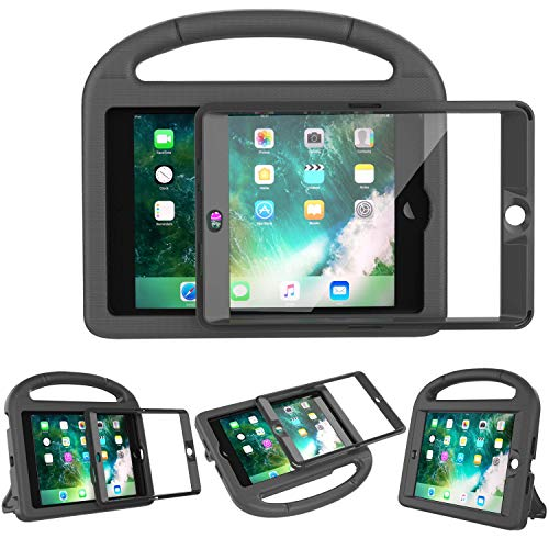 LEDNICEKER Kids Case Built-in Screen Protector for iPad Mini 1 2 3 - Shockproof Handle Kidproof Friendly Foldable Stand Child Case for iPad Mini 1st 2nd 3rd Generation - Black (1st Rubber Case Generation Ipad)