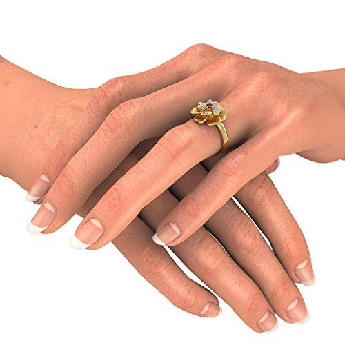 18K Or jaune, 0,12carat Diamant Blanc (IJ | SI) Rubis et diamant Bague