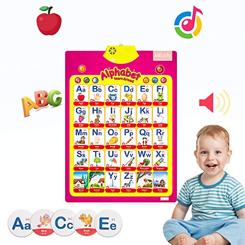 MEckily Talking Electronic Alphabet Poster and Enlightenment FlashCards, Educational Learning Toy for Preschooler, Kindergarten, Daycare, 3+ Years Toddler Old Kids Boys Girls