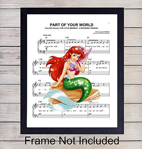 (Little Mermaid Sheet Music - Wall Art Print - Ready to Frame (8X10) Photo - Perfect Gift For Baby Girls Room, Nursery, Disney World Fans - Disneyworld - Great For)