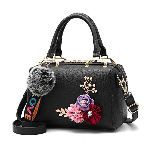(Mn&Sue NobleWomen's Flower Pearl Top Handle Barrel Lady Purse Shoulder Satchel Handbag Evening Party Bag (Black))