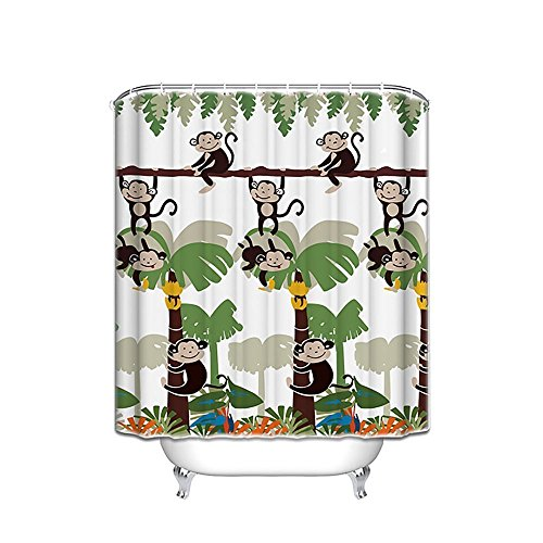 (Monkey Fabric Shower Curtain, 72