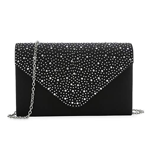 ant Evening Bag, Classic Clear Diamante Satin Clutch Purse for Wedding/Prom/Party (Black) ()