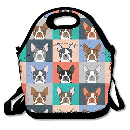 Boston Terrier Dog Lunch Box Bag Lunch Tote Lunch Holder With Adjustable Strap For Kids And Adults For School Picnic Office Travel Outdoor School (Strap Opus)