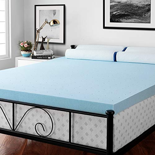 RUUF Mattress Topper Queen, 3 inch Gel-Infused Memory Foam Mattress Topper with CertiPUR-US, Soft but Firm Support