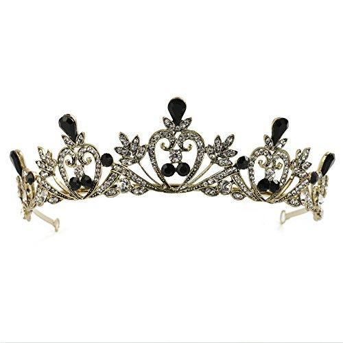 FANGZHIDI Tiara Crown with Black Rhinestones, Gorgeous Crystal Tiara Headband Leaves No Comb Simmer Birthday Tiara Cake Topper Prom Costume Accessories (Gunmetal-C1054) - Head Topper