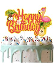 Red Tropical Happy Birthday Cake Topper, Flamingo and Coconut Cake Decor, Aloha Cake Topper, Summer Holiday Birthday Party Supplies