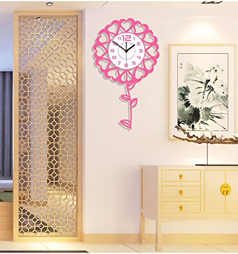 Wall Clock living room modern minimalist creative fashion mute watch children's room cartoon flowers quartz pendulum clock, Pink
