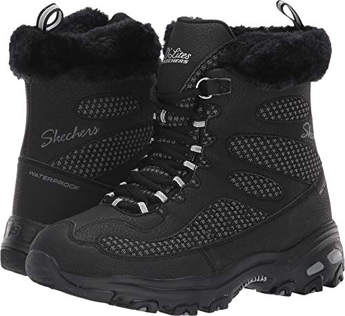 Skechers Women's D'Lites - Bomb Cyclone. Short Lace Up Boot with Fur Collar Fashion, Black, 8.5 M ()
