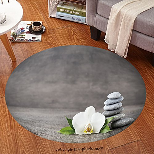 Sophiehome Soft Carpet 302266781 Spa stones and white orchid on the grey background Anti-skid Carpet Round 47 inches by sophiehome