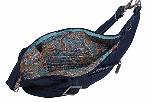 Black Theft Body Paisley Bag Pocket Travelon Lining w Midnight Anti Two Cross qBwXZ15Z