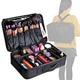 Valdler Large Makeup Bag Portable Cosmetic Organizer With Removable Divider Water Proof Multifunction Black