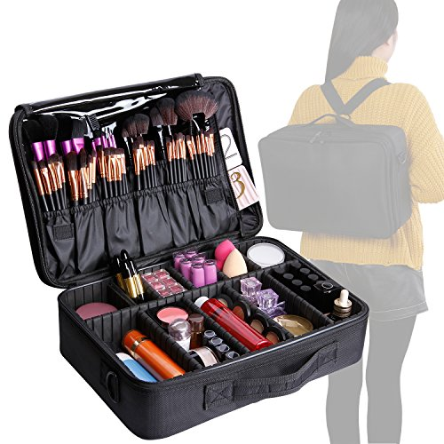 51NRiECmY4L - Valdler Large Makeup Bag Portable Cosmetic Organizer With Removable Divider Water Proof Multifunction Black