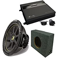 Kicker 10C12D4 12 DVC Comp Sub, MB Quart ZA2-1000.1D 1000 Watt Mono Amp, Amp Kit, 12 Truck Box