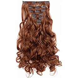"OneDor 20"" Curly Full Head Clip in Synthetic Hair Extensions 7pcs 140g (Medium Auburn-30#)"