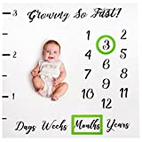 Baby Monthly Milestone Blanket Boy Girl Photo Gift Set Including Props - with 2 Bonus Frames - Cute Newborn Infant Baby Shower Gifts for New Expectant Moms and Women - Month Photography Backdrop