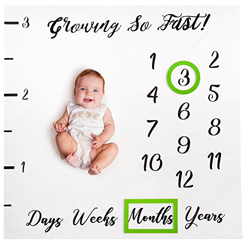 Baby Monthly Milestone Blanket Boy Girl Photo Gift Set Including Props - with 2 Bonus Frames - Cute Newborn Infant Baby Shower Gifts for New Expectant Moms and Women - Month Photography Backdrop by Brulé Gifts