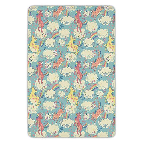 Bathroom Bath Rug Kitchen Floor Mat Carpet,Pastel,Rainbow Unicorns Flying in Sky with Clouds Children Cheerful Kids Room Nursery Decor Decorative,Multicolor,Flannel Microfiber Non-slip Soft Absorbent by iPrint