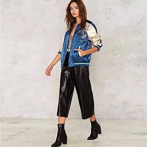 Collo Manica Ricamate Primaverile Casuale Pilot Blau Fiori Giacche Lunga Bomber Hipster Donna Coreana Outerwear Donne Eleganti Classiche Vintage Autunno Giacca FxB0SwXqt