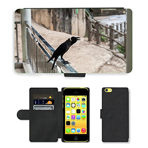 GoGoMobile PU Leather Flip Custodia Protettiva Case Cover per // M00123546 Corbeau Ave animale // Apple iPhone 5C