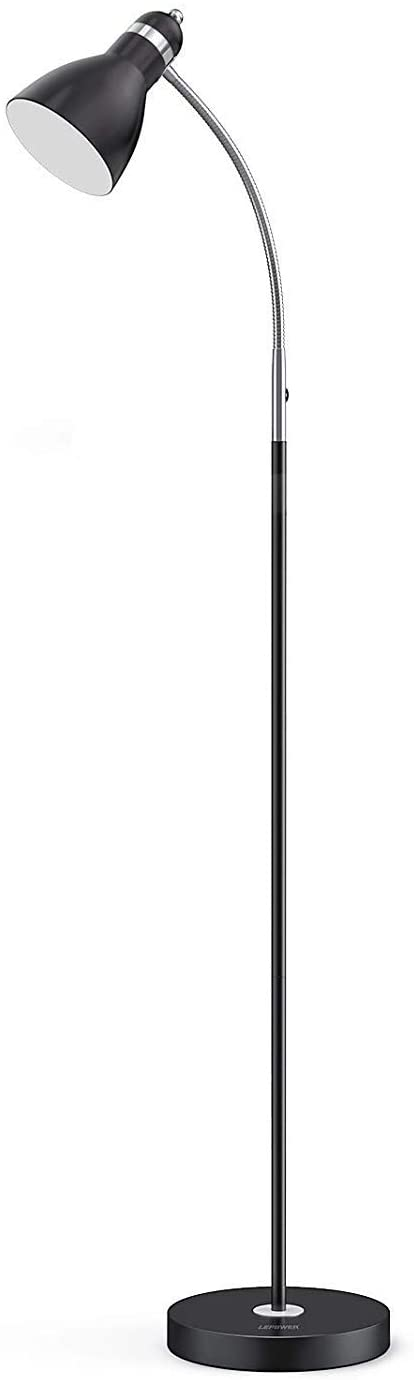 LEPOWER Metal Floor Lamp, Adjustable Goose Neck Standing Lamp with Heavy Metal Based, E26 Lamp Base, Torchiere Light for Living Room, Bedroom, Study Room and Office(Black)