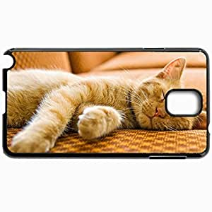 Black Case For Samsung Galaxy Note 3 Hard Cutomizd Personalizd Cats Sleeping Cat Black