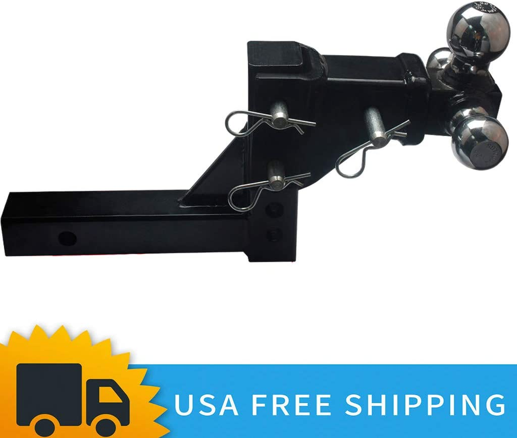 Black 3 Ball Adjustable Trailer Tow Drop Hitch Ball Mount Towing Truck 2 Receiver