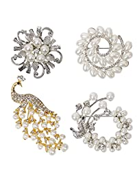 BMC 4 pc Gold and Silver Colored Design Alloy Metal Faux Pearl Rhinestone Fashion Jewelry Brooch Set