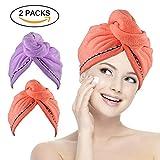 Bleaching Hair Orange - Miracu 2 Pack Hair Drying Towels, Quick Dry Ultra Absorbent Microfiber Hair Towel Turban Wrap Shower Head Towel for Women, Girls and Children