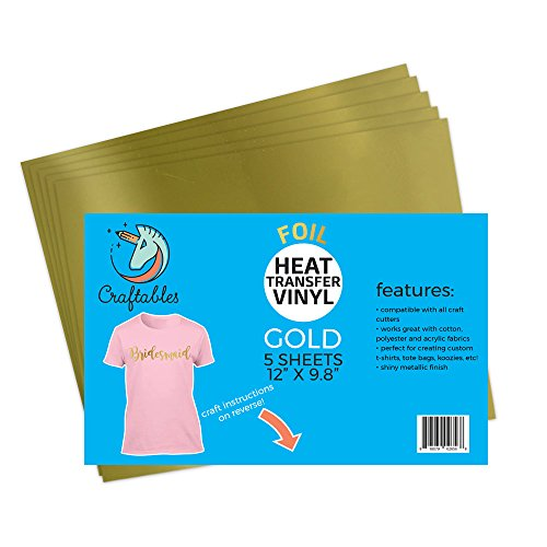Craftables Gold Foil Heat Transfer Vinyl for Craft Cutters - (5) Reflective 9.8
