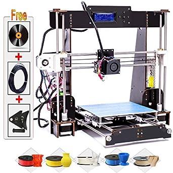 Impresora 3D, DIY A8-W5 Pro Aviación Madera Pantalla LCD de alta precisión Escritorio Impresoras 3D Kit de impresora con filamento de impresora ...