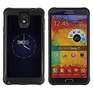 All-Round Hybrid Rubber Case Hard Cover Protective Accessory Compatible with SAMSUNG GALAXY NOTE 3 - clock black minimalist busy