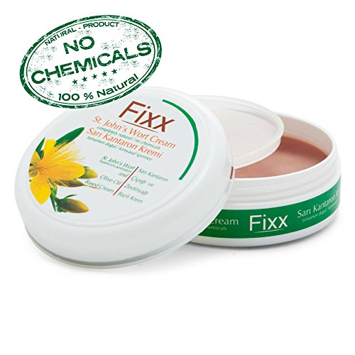 Nighttime Heel Treatment Cream (Fixx St Johns Wort -No Chemicals- Skin Treatment Cream with Olive Oil for Acne & Hemorrhoid & Scar Removal & Wound Care & Stretch Mark & Bed Sore)