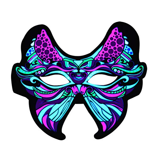 Halloween Mask Light Up Costume Butterfly Mask Party Sound Music Reactive Flashing Mask Light Up Activated LED Rave Face Mask or Adults and Kids