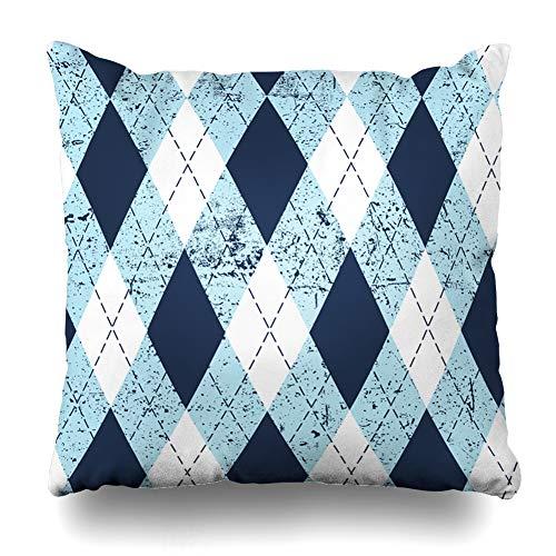 iDecorDesign Throw Pillow Covers Argyle_Aged_Pattern_Diamond_Check_in_Moderate_Blue_White_Black_Stitch_Vintage_Design Home Decor Pillow Case Square Size 18 x 18 Inches Pillowcase - Jenny Golf Socks