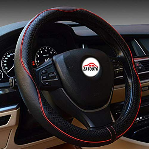 (Steering Wheel Covers for Car - Genuine Leather Luxury Breathable Antiskid Universal 15