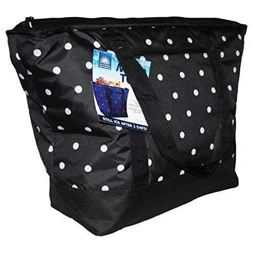12 Gallon Insulated Black Polka Dot Mega Tote Bag - The Way to Transport Frozen Food, Perishables and Hot Food