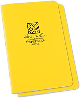 """product image for Rite in the Rain Weatherproof Stapled Notebook, 4 5/8"""" x 7"""", Yellow Cover, Universal Pattern, 2 Pack (No. 371-2)"""