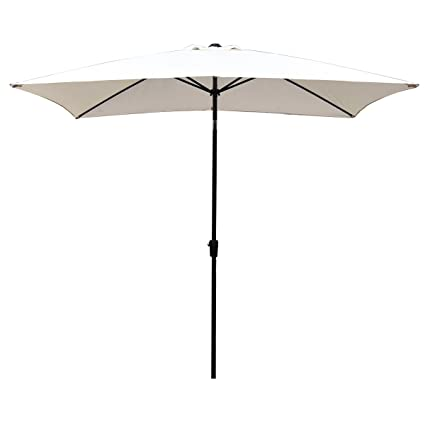 Superieur 10x6.5 Feet Outdoor Rectangle Patio Umbrella   Waterproof Polyester Canopy  With Push Button