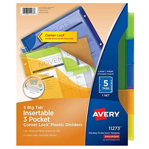 Avery 11273 Big Tab Plastic Dividers w/Three Pockets & Corner Lock, 5-Tab, 11 1/8 x 9 1/4 ()