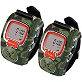 VECTORCOM Portable Digital Wrist Watch Walkie Talkie Two-Way Radio Outdoor Sport Hiking, Camouflage.462MHZ.1pair. (Green)