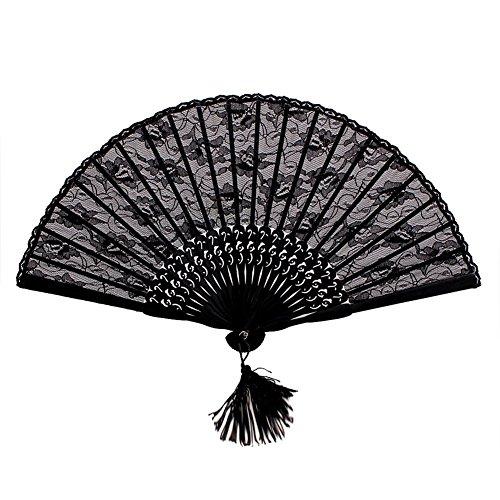 NSSTAR Ladys Girls Vintage Retro Flower Lace Handheld Folding Hand Fan (Black) (Black)