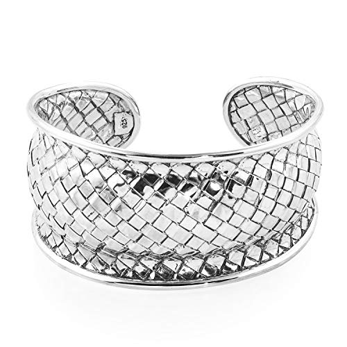 925 Sterling Silver Basketweave Cuff Bangle Bracelet for Women Jewelry Gift 7.50