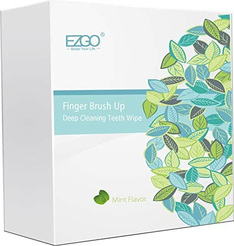 EZGO 100pcs Deep Cleaning Teeth Wipes Finger Brush Teeth Wipes Oral Brush Ups Mint Flavor
