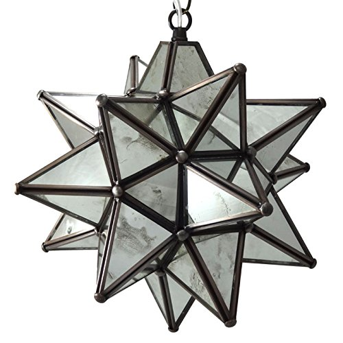 Moravian Star Pendant Light, Antique Mirrored Glass, 12